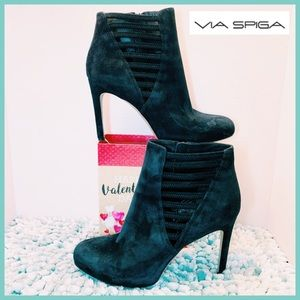 VIA SPIGA Ankle Boots Black Faux Suede High Heels